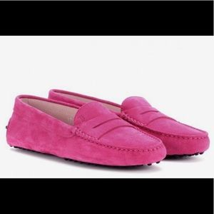 TOD'S Gommino Pink Suede Leather Moccasins 4.5